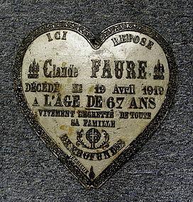 Antique Metal French Grave Casket Coffin Marker