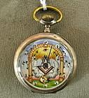 Rare Antique Masonic Automaton Silver Pocket Watch