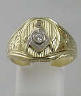 Engraved Masonic 14K Yellow Gold Ring with Diamond