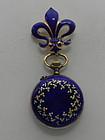 Ladies Antique Blue Enamel Pendant Watch Fleur de Lis