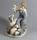 Lladro Porcelain Figurine Puppet Show Dogs Cats Retired
