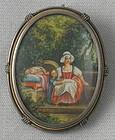 French Miniature Painting Garden Scene Pendant, 19C