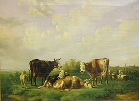 Albertus Verhoesen Dutch Oil Landscape Cows, C 1847