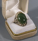 Vintage Chinese Large Green Jade Ring Gold Silver