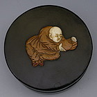 Japanese Black Round Tea Box with Figure