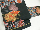 Japanese Woven Silk Nagoya Obi Shi-Shi Lion Dog