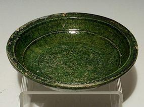 Chinese Green Glaze Han Dynasty Earthenware Deep Dish