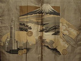 Rare 1930 Kimono Men's Haori Jacket R100 Blimp Voyage