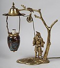 French Lamp by E. Delabrierre of a Japanese Man