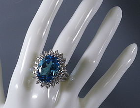 Lady's Platinum Blue Topaz and Diamond Dinner Ring