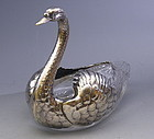 Large Sterling Silver Swan Table Server Candy Dish