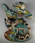 K Y Lin Dragon Fish with Warrior Pottery Roof Tile