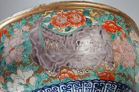 Imari Porcelain Elephant Punch Serving Bowl, Edo