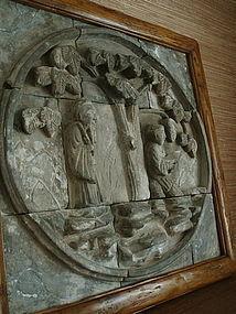 Wall Sculpture Scene of Scholar Laborer, Ming 17th C