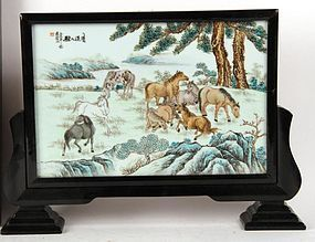 Chinese Porcelain Plaque Table Screen with 8 Horses