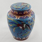 Chinese Cloisonne Tea Caddy Jar with Roosters, 19th C