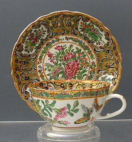 Chinese Rose Medallion Black Fluted Butterfly Cup Saucer 19 C