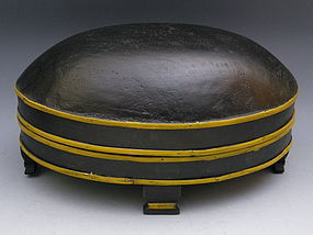 Painted Oval Wooden Box with Domed Lid and Feet
