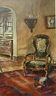 19th C Watercolor Painting of Victorian Interior Room