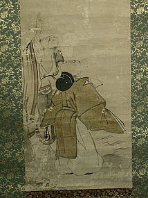 Japanese Scroll Painting Men Watching Moon, Late Edo