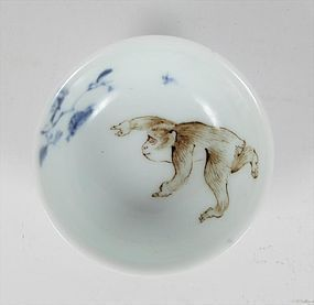 Japanese Porcelain Sencha Tea Cup Macaque Snow Monkey, Chikusen