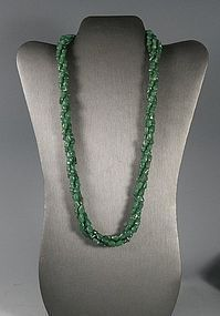Old Chinese Burmese Jadite Jade Green Three Strand Necklace 24""