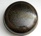 Large Chinese Black Enamel Cloisonne Round Box