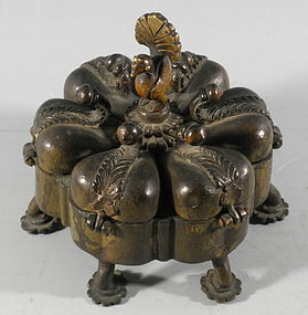 Islamic Indian Mughal Bronze Lobed Cosmetic Container Peacock, 19th C