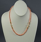 Natural Salmon Coral Bead Necklace with Pearls