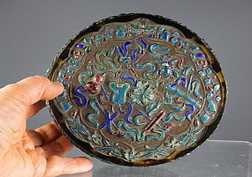 Large Oval Chinese Tortoise Shell and Enamel Box, Qing