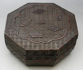 Japanese Carved Octagonal Wood Lacquer Box with Shells, Circa 1850