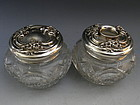 Glass Dresser Jar and Matching Hair Receiver Sterling Silver
