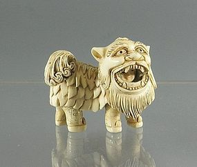 Ivory Netsuke Boy Chinese New Year Lion Dance, Meiji