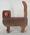 Mid-Century Wood Sculpture of Cat with Human Face by Victor Colby