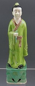 Tall Chinese Sancai Porcelain Man Scholar Male Figure Statue Lohan