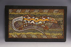 Aboriginal Art Ochre Painting Lizard with Snake by Timaepatua