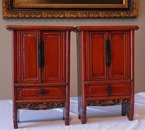 Antique Pair Red Lacquer Miniature Chinese Scholar's Cabinets, 19th C