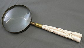 Antique Japanese Ivory with Red Coral Meiji Era Magnifying Glass