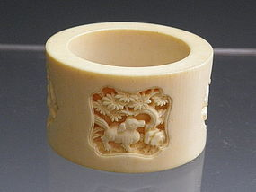 Chinese Carved Ivory Napkin Ring with Crane, Dog, Goat, 19th C