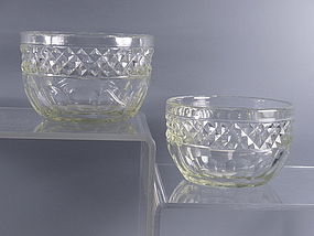 Rare Pair of Anglo Irish Cut Crystal Finger Bowls, 19th C