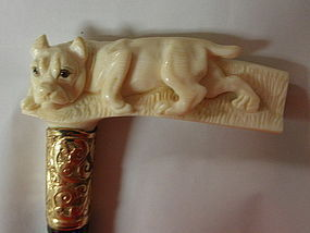 Large Staffordshire Bull Terrier Ivory Walking Stick Cane Handle