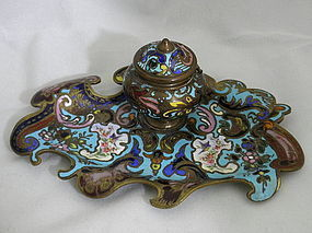 Antique French Bronze Enamel Inkwell with Bird Paintings, 19th C