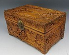Dongyang Camphor Wood Small Carved Chest Rooster Chicken Box
