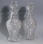 Rare Pair of Antique Anglo Irish Cut Crystal Decanters, 200 Years Old