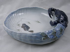 Royal Copenhagen Porcelain Blue Crab Bowl Dish, 1960's Denmark
