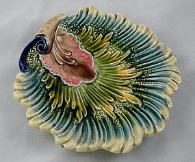 Antique French Majolica Glazed Shell Leaf Dish, 2 available