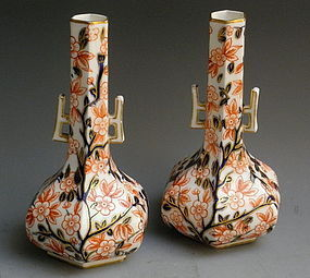 Pair of Antique Royal Crown Derby Old Imari Pattern Vases