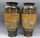 Large Doulton Lambeth Hannah Barlow Stoneware Vases Sheep Donkey