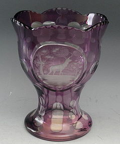 Antique Purple Bohemian Crystal Art Glass Etched Deer Scene Vase