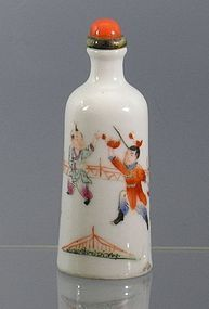Famille Rose Porcelain Snuff Bottle with Boys at Play, MK